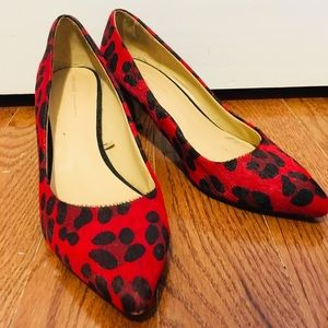 Zara Faux Fur Leather Red Cheetah Print Pumps 8
